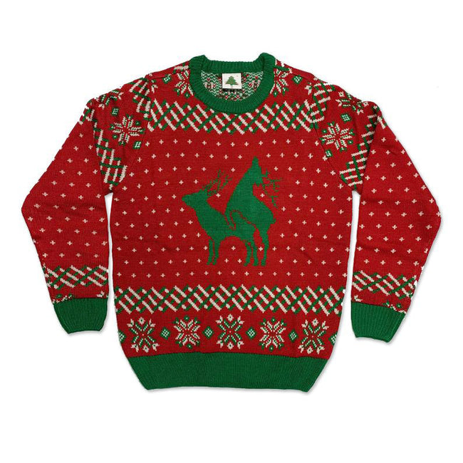 Real Sweater, Reindeer Funny Ugly Christmas Sweater [Red]