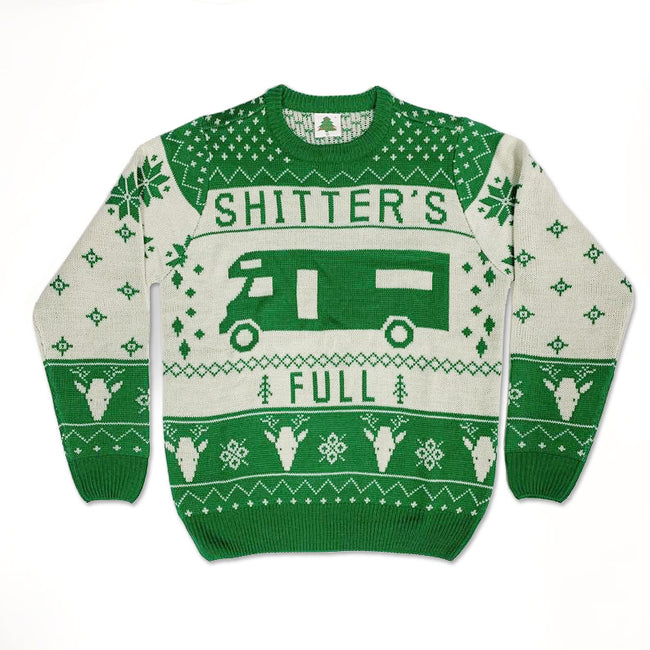 Real Sweater, Shitter's Full National Lampoon's Christmas Vacation Funny Ugly Christmas Sweater [Red]