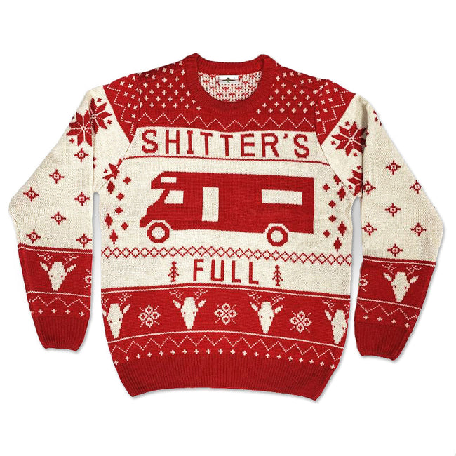 Real Sweater, Shitter's Full National Lampoon's Christmas Vacation Funny Ugly Christmas Sweater [Navy]