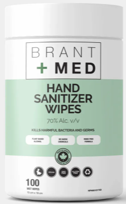BrantMed Wipes 70% Alcohol - Canister of 100