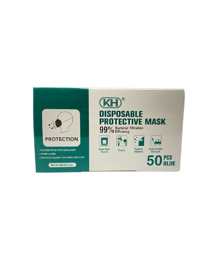 3-Ply Disposable Face Masks - Non-medical (Box of 50, 5X10 Packs)