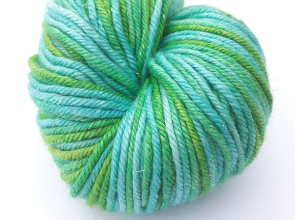 All the Mint hand dyed merino/silk/stellina DK weight yarn