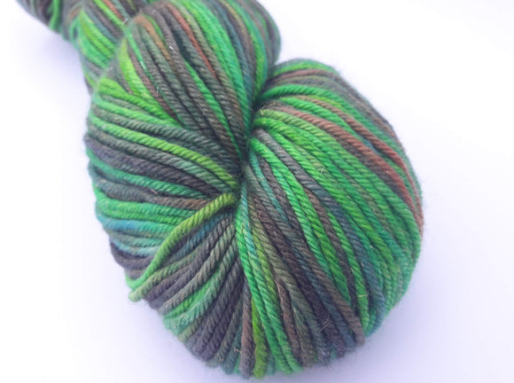Rainforest hand dyed merino/silk/stellina DK weight yarn