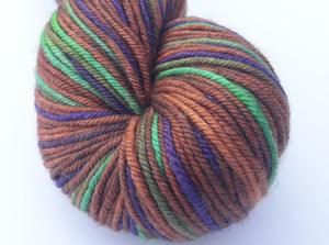 Caravan hand dyed merino/silk/stellina DK weight yarn
