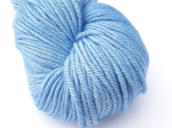 Optimistic Sky hand dyed merino/silk/stellina DK weight yarn