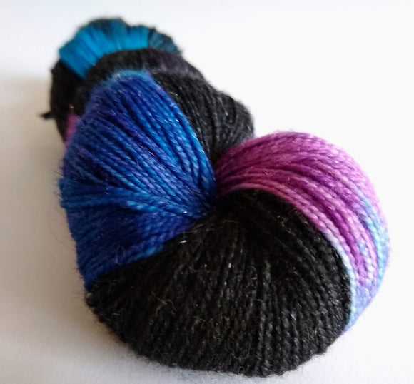Dark Disco sparkle merino nylon fingering/4ply/sock yarn