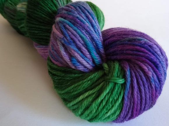 Forest Wildflowers hand dyed 100% merino DK weight yarn