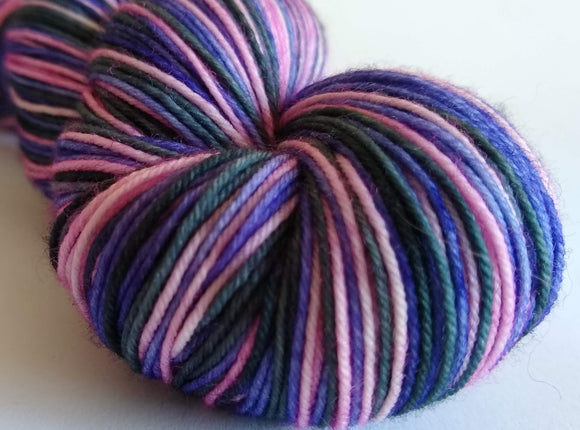 Ladylike self striping hand dyed superwash merino/nylon fingering/4ply/sock yarn
