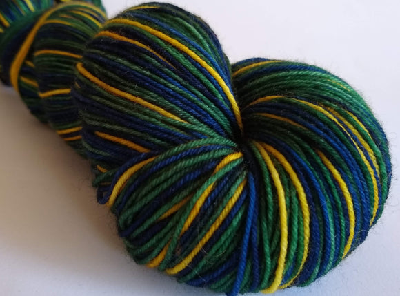 Hunter self striping hand dyed superwash merino/nylon fingering/4ply/sock yarn