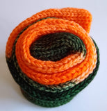 Orange and dark green double strand hand dyed superwash merino/nylon fingering/4ply/sock blank