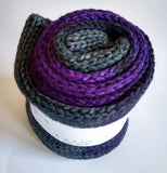 Purple and charcoal double strand hand dyed superwash merino/nylon fingering/4ply/sock blank