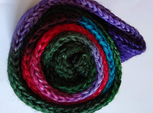 Purple, green, red and turquoise double strand hand dyed superwash merino/nylon fingering/4ply/sock blank