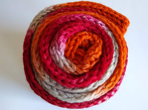 Red, orange and grey double strand hand dyed superwash merino/nylon fingering/4ply/sock blank