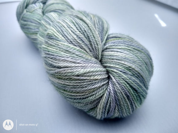Sea Glass Luxury Owl hand dyed Blue Faced Leicester/Silk/Cashmere fingering/4ply/sock yarn