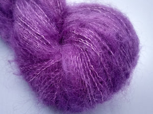 Violet Macaron Hand dyed kidsilk laceweight yarn
