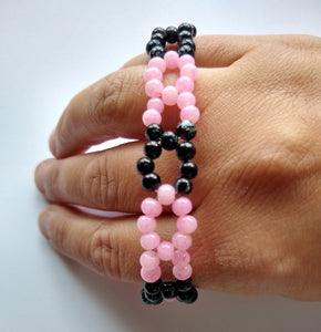 CHARITY SALE Pink and Black Beaded Bracelet - hand made