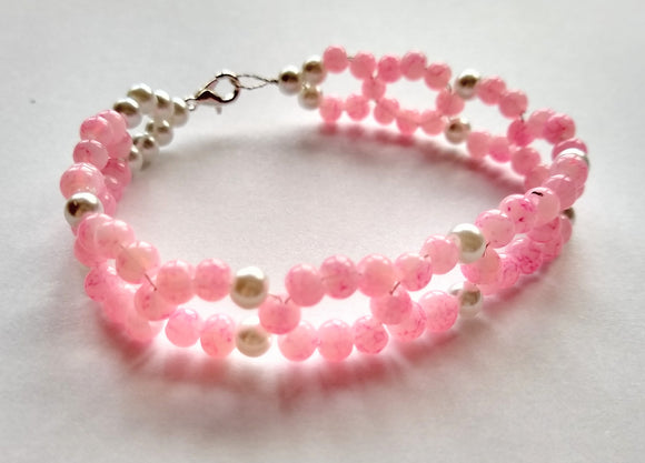 CHARITY SALE Pink and White Beaded Bracelet - hand made