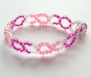 CHARITY SALE Hot Pink and Pale Pink Beaded Bracelet - hand made
