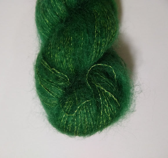 Evergreen Hand dyed kidsilk laceweight yarn