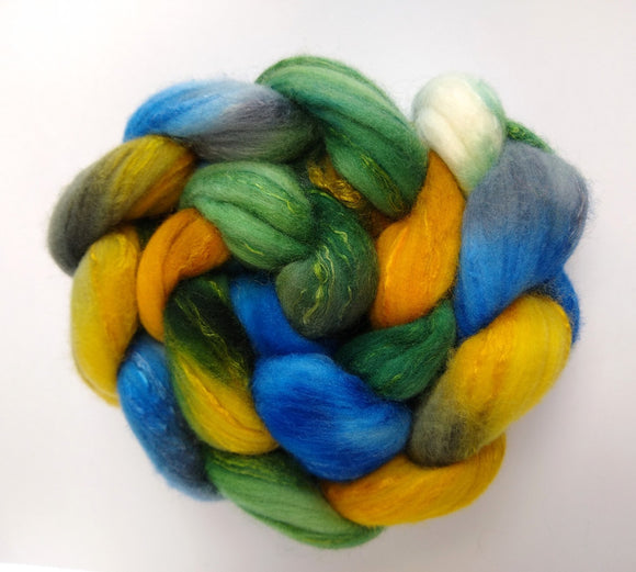 Le Parcours hand dyed merino/silk combed top or Polwarth combed top for spinning/felting