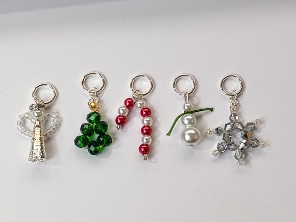Christmas beaded stitch markers (benefitting Marie Curie hospices)