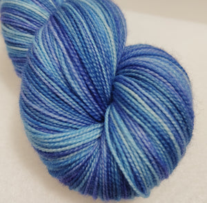 Frozen Fjord hand dyed 100% superwash Blue Faced Leicester high twist fingering/4ply/sock yarn