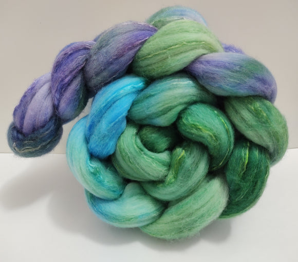 Cottage Garden hand dyed Merino/silk combed top for spinning/felting