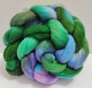 Spring Meadow hand dyed Polwarth fibre for spinning/felting