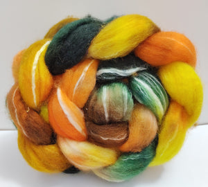 Brownie Camp hand dyed BFL/Seacell combed top for spinning/felting