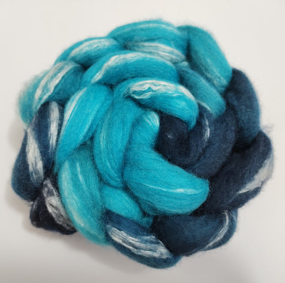 Oceanic hand dyed BFL/Seacell combed top for spinning/felting