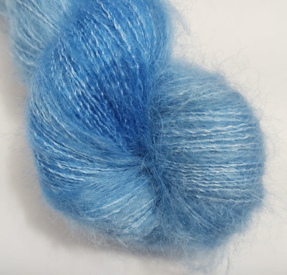 Cornflower Hand dyed kidsilk laceweight yarn