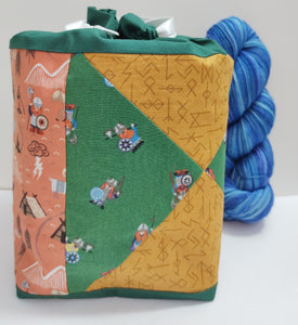 Medium sized Drawstring Project Bag, fully lined, patchwork style, multiple colour options