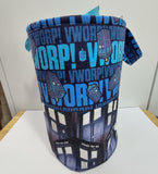Drawstring Fluff Bucket Project Bag, fully lined, Doctor Who inspired