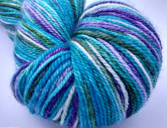 Cosmeston Luxury Owl hand dyed Blue Faced Leicester/Silk/Cashmere fingering/4ply/sock yarn