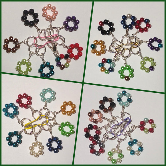 Beaded circle stitch markers (set of 5)