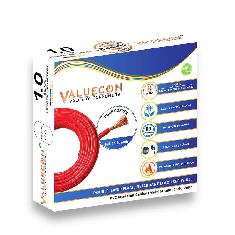 Valuecon®️ PVC Insulated 1.00 Sq.mm Single Core Flexible Copper Wires and Cables for Home, Buildings | Home Electric Wires With 8 CPMG - 90 Meters with 10 Years Warranty