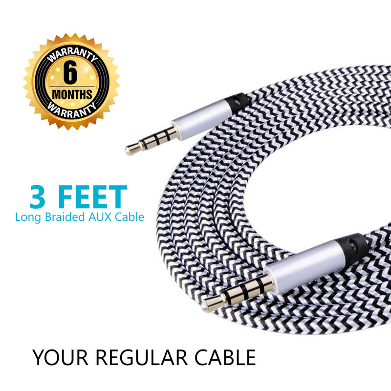 Valuecon 3.5 mm male jack to 3.5 mm male jack Auxiliary Audio Cable - 1 meter with 6 months Warranty