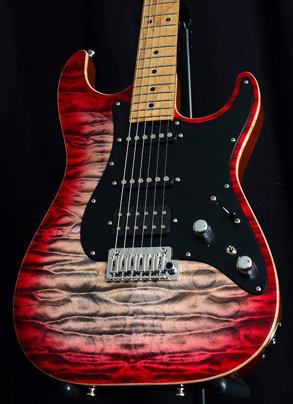 Used Tom Anderson Drop Top Classic Natural Black To Red Burst-Brian's Guitars
