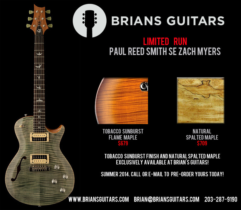 Paul Reed Smith SE Zach Myers Limited Run Tobacco Sunburst and Spalted Maple Brian's Exclusive