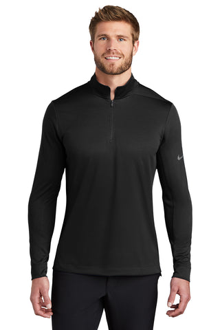 Man wearing Nike half zip DRI-Fit jacket in black from Port City Apparel