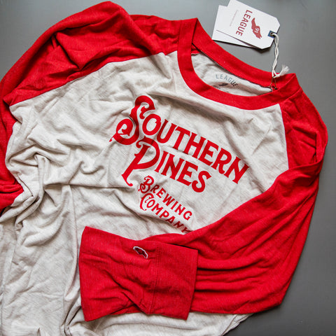 Red long sleeve Southern Pines Brewing Shirt from Port City Apparel