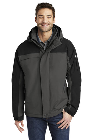 Man Wearing Port Authority Nootka Jacket in Black and Grey from Port City Apparel.
