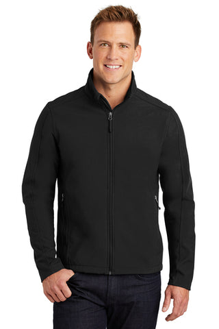 Man Wearing Black Soft Shell Jacket from Port City Apparel