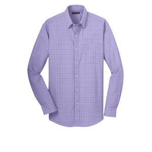 Red House® Mens Windowpane Plaid Non-Iron Shirt