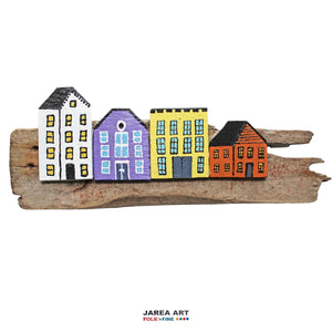 Fence & Driftwood Sculpture - White/Purple/Yellow/Orange