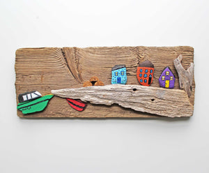 Driftwood & Rock Sculpture - Green Boat