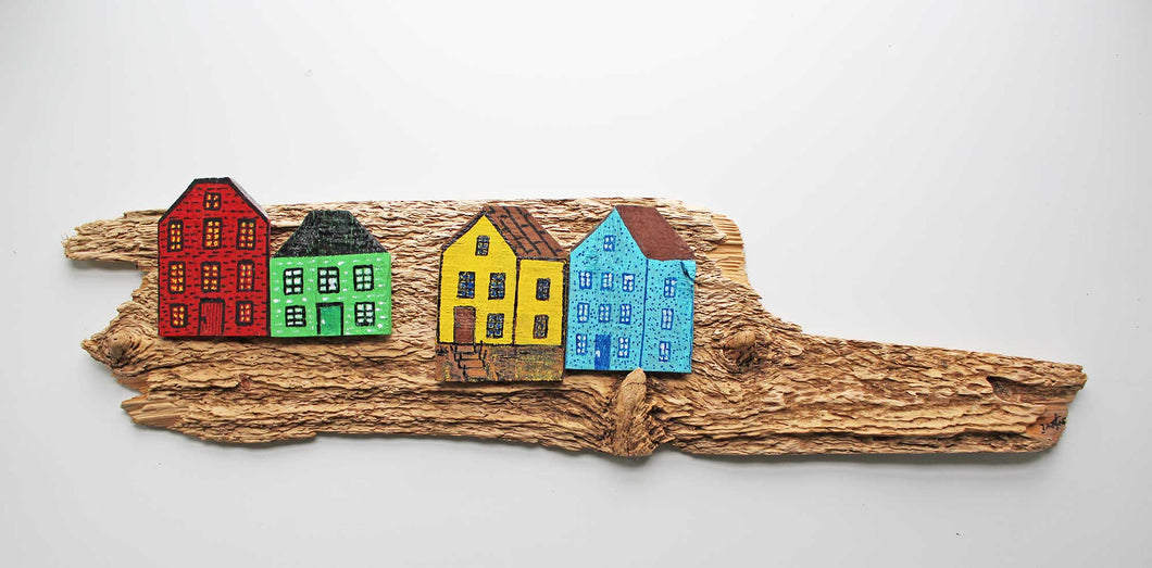Fence & Driftwood Sculpture - Red/Green/Yellow/Blue
