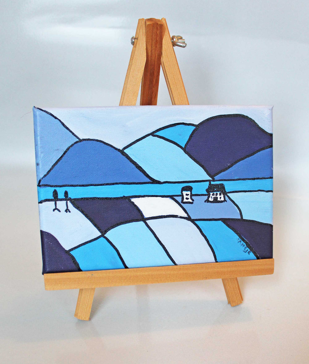 Tiny Folk Art Painting - Blue