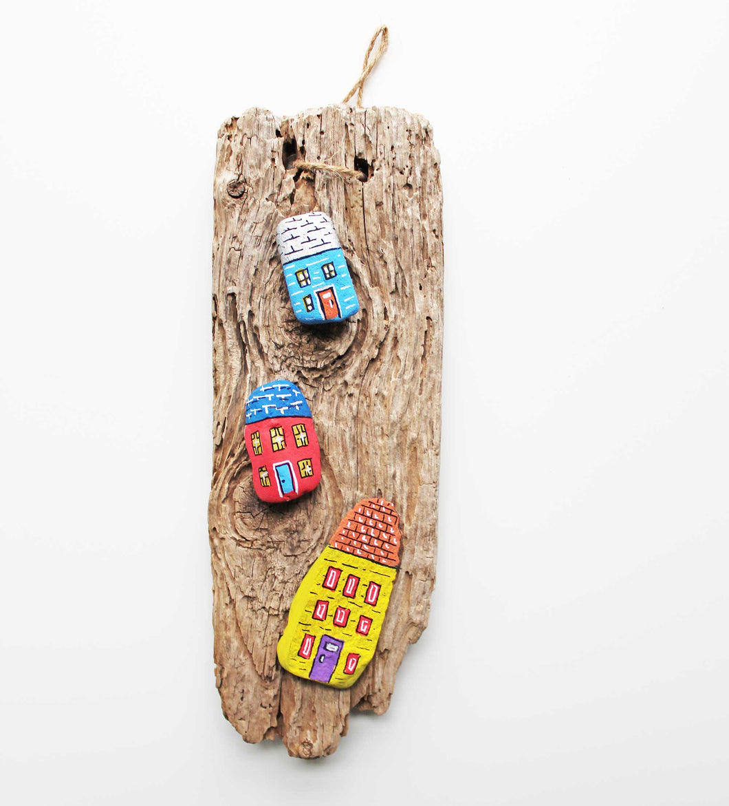 Driftwood & Rock Sculpture - Three Little Houses