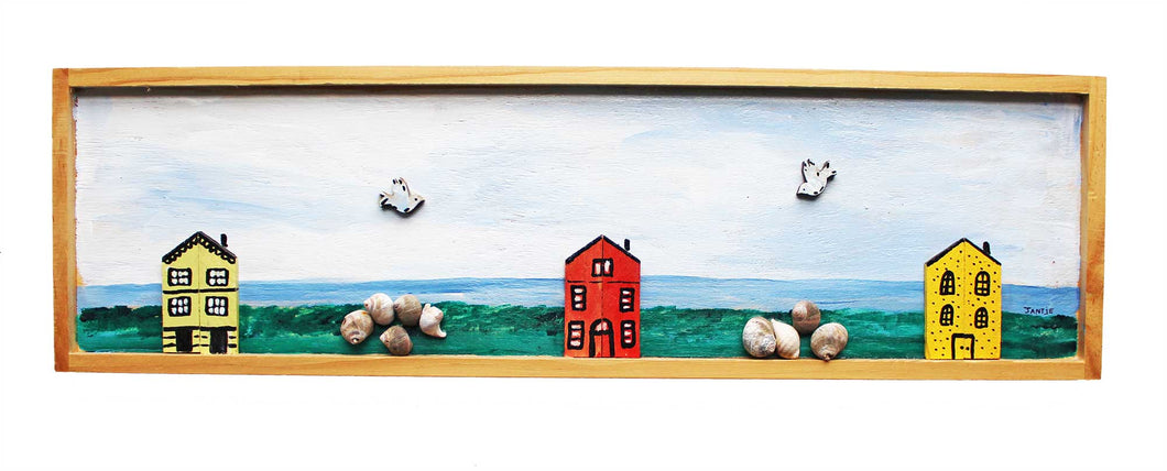 Three Houses Folk Art Relief
